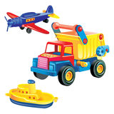 Transport infrastructure concept - toy ship, truck and plane, white background. Vector Plastic toys: truck, boat and airplane. On a white background Stock Illustration