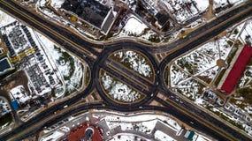 Transport interchange top view. Aerial survey royalty free stock photo
