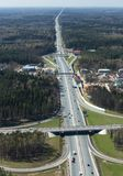 Transport intersection. Aerial view of a transport interchange from the helicopter near Moscow, Russia Stock Photo