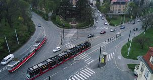 Transport intersection in Prague, aerial view stock footage