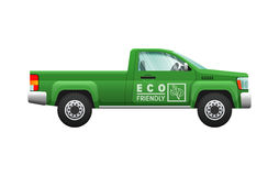 Transport. Isolated Classic Green Car. Eco Pickup. Transport. Picture of isolated green classical pickup. Ecologically clean car with two doors. Useful and cheap Royalty Free Stock Photo