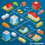 Transport Isometric Flowchart. Public and personal transport isometric flowchart with city buildings vector illustration Royalty Free Stock Image