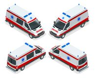 Transport isometric set Ambulance van  vector illustration. Emergency medical evacuation accident. Accident Stock Photography