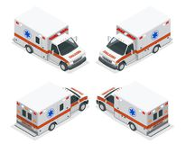 Transport isometric set Ambulance van  vector illustration. Emergency medical evacuation accident. Accident Stock Image