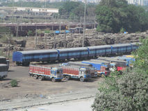 Transport. Its photo of train compattment and trucks place- Mumbai, India royalty free stock photos