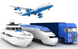 Transport Jacht, pociąg, ciężarówka i samolot, ilustracja wektor
