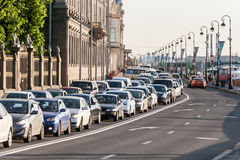 Transport jam on city roads St. Petersburg Royalty Free Stock Photography