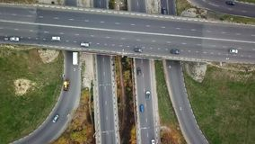 Transport junction in autumn, top view from drone point of view. Drone flying up stock video