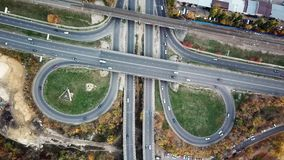 Transport junction in autumn, top view from drone point of view.  stock video