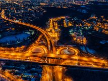 Transport junction in winter night, aerial view from drone.  stock images
