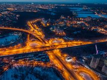 Transport junction in winter night, aerial view from drone.  stock photos