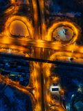 Transport junction in winter night, top view from drone.  royalty free stock images