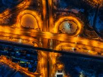 Transport junction in winter night, top view from drone.  royalty free stock photo