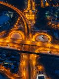 Transport junction in winter night, top view from drone.  royalty free stock image