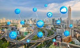 Transport, komunikacja i internet przy nowożytnym Zdjęcia Royalty Free