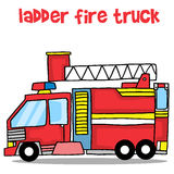 Transport of ladder fire truck cartoon Stock Image
