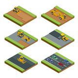 Transport for laying and repair of asphalt. Isometric concept of Forklifts, Asphalt Paver, Wheel tractor-scraper vector illustration