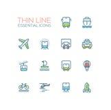 Transport - ligne mince simple icônes de vecteur moderne réglées Photo stock