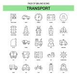 Transport Line Icon Set - 25 Dashed Outline Style stock illustration