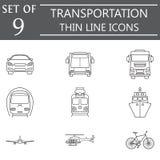 Transport line icon set, public transportation Royalty Free Stock Images
