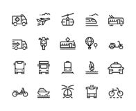 Transport line icons. Airplane helicopter balloon train trolley city vehicles bicycle motorcycle travel. Transportation vector illustration
