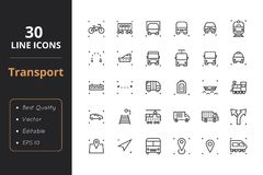 30 Transport Line Icons. High quality transport line icons. Icons for user interfaces and web Royalty Free Stock Photos