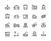 Transport line icons. Public bus car airplane train tram boat vehicle taxi service trolley city travel. Transportation stock illustration