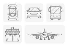Transport linear art icons set Stock Photo