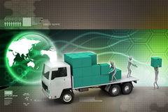 Transport-LKWs in der Frachtlieferung Stockfoto