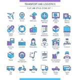 Transport and logistic icons 01. Transport and logistic icons set. Modern icons on theme delivery, packaging, navigation and transportation. Flat line design Stock Photography