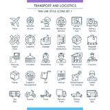 Transport and logistic line icons 01. Transport and logistic icons set. Modern icons on theme delivery, packaging, navigation and transportation. Thin line Stock Image