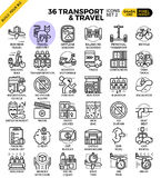 Transport Logistic & Travel Outline Icons Stock Image