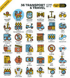 Transport Logistic & Travel Outline Icons Royalty Free Stock Image