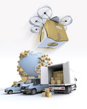 Transport logistics with drone Stock Photos
