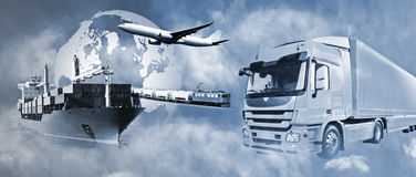 Transport logistics. Transport of goods by truck, boat, plane and train