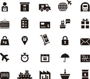 Transport, logistics and shipping icons. Set of black and white glyph flat icons relating to transport, logistics and shipping Royalty Free Stock Photos