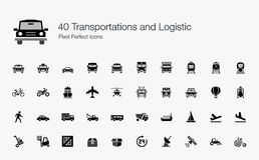 40 Transport-logistisches Pixel-perfekte Ikonen Stockfoto