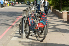 Transport for London bikes in rack in London, England Stock Photo