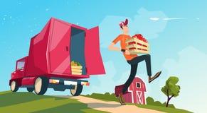 Transport Lorry Carrying Fruits Vegetables de récolte de ferme Images stock