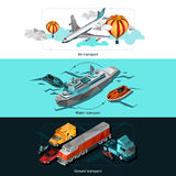 Transport Low Poly Banners. Transport horizontal banners set with low poly isometric air water and ground vehicles  vector illustration Stock Photo