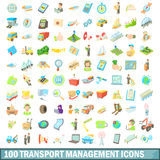 100 transport management icons set, cartoon style Stock Photography