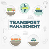 Transport management phrase, transportation and tools Royalty Free Stock Image