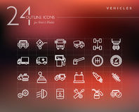 Transport and mechanic outline icons set Royalty Free Stock Photo