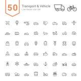 Transport & medelsymbolsuppsättning 50 linje vektorsymboler vektor illustrationer