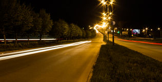 Transport metropolis. Traffic and blurry lights of cars on multi-lane highways Stock Photo