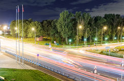 Transport metropolis, traffic and blurry lights Stock Photo