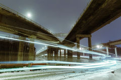 Transport metropolis, traffic and blurry lights Royalty Free Stock Images