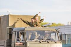 Transport militaire après Victory Parade Photo libre de droits