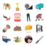 Transport, mine, espace et toute autre icône de Web dans le style de bande dessinée Meubles, sport, épousant des icônes dans la c Images stock