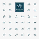 32 transport minimalnej kreskowej ikony Obraz Stock